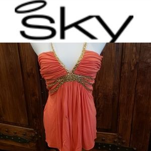 Sky sexy coral top with gold ropes
